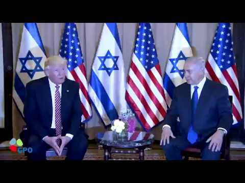 PM Netanyahu and President Trump at the start of their meeting in Jerusalem