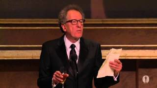 Geoffrey Rush honors Angela Lansbury at the 2013 Governors Awards