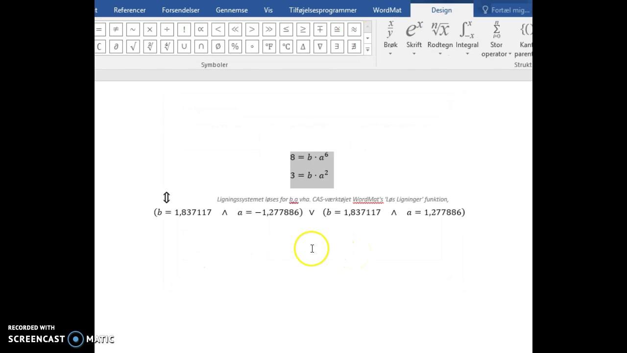 to ligninger med to ubekendte i WordMat