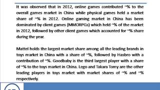 Bharat Book Presents : China Toys And Games Industry Outlook To 2017