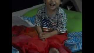 Baby Adam laughing after woke up