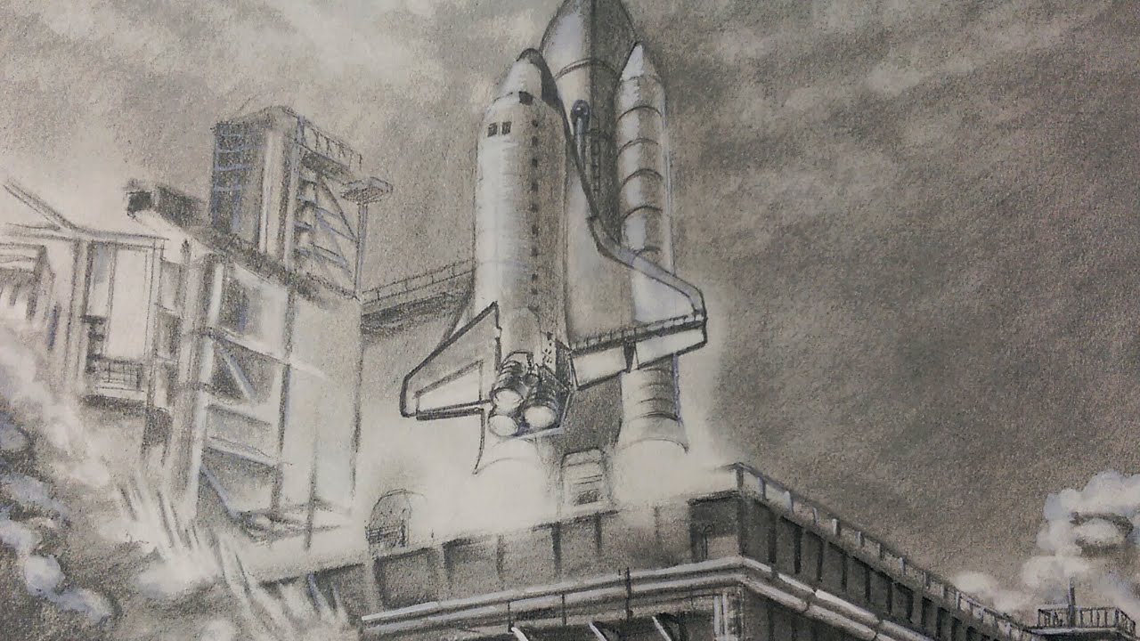 Drawing Space Shuttle Launch | Speed Drawing - YouTube