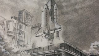Drawing Space Shuttle Launch | Speed Drawing