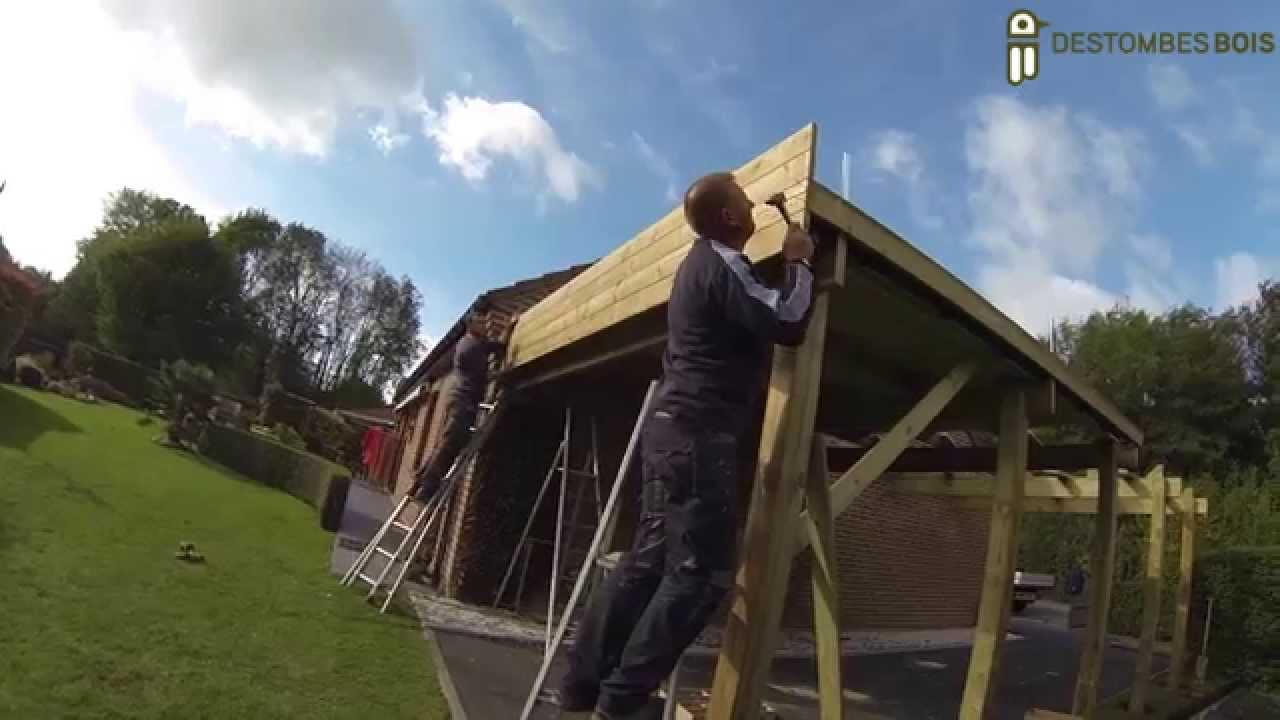Destombes bois 1 montage carport youtube - Montage carport bois ...