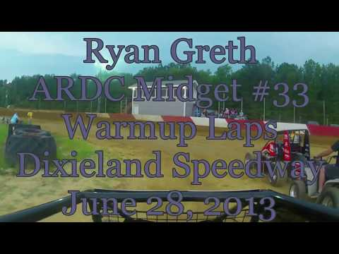 In-car camera of Ryan Greth's ARDC Midget during warmups at Dixieland 6/28/13.