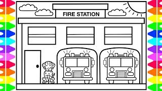 How to Draw a FIRE STATION for Kids 🚒🔥Fire Station Drawing | Fire Station Coloring Pages for Kids