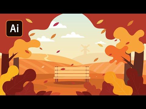 Осенняя Иллюстрация в Adobe Illustrator