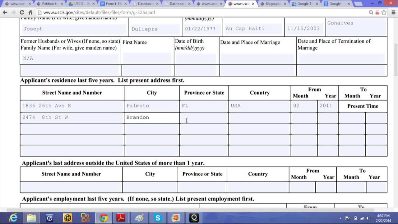 How to fill out the Form G-325A - YouTube
