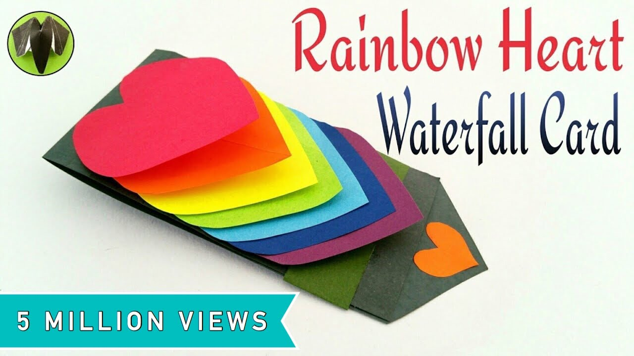 Rainbow Heart Love Waterfall Card For Valentines Day DIY - Putting paint on a drum kit creates an explosive rainbow
