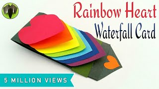 Rainbow Heart | Love waterfall card for Valentine's Day - DIY Tutorial by Paper Folds #605 thumbnail