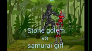 Stone golem vs Samurai girl. Cartoon-animation - Kampf video. cm ALIF. Zeichnen, Comic-2.