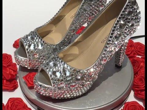 5666649043ac Velcans  DIY Studded Silver Rhinestone Peep Toe Wedding Party Prom Dress  Shoes High Heel Pumps