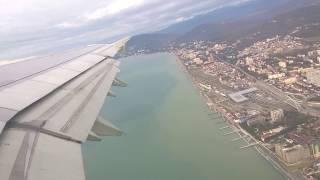 Взлёт самолёта из аэропорта Адлер (Сочи)