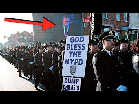 "NEW YORK MAYOR BILL DE BLASIO SHUNNED BY OFFICERS ""DUMP DE BLASIO""!"
