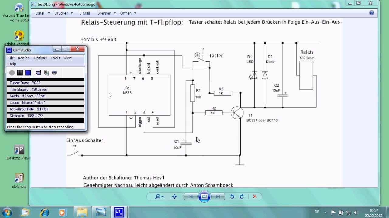 Relais mit Memoryschaltung, IC-NE555 Toggle-Flipflop - YouTube