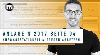 Anlage N 2017 Seite 4 ausfüllen | Auswärtstätigkeit und Spesen absetzen | Steuererklärung Elster
