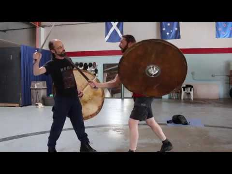 Dynamic Viking Shield Fighting and the Weaponized Shield Boss; New Casein horse hide Plank Shield