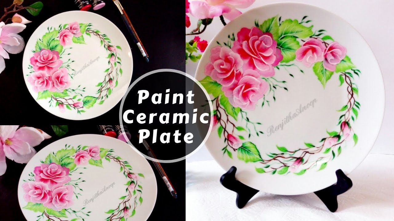 How To Paint Rose On Ceramic Plate Multi Surface Acrylic Painting Diy Youtube