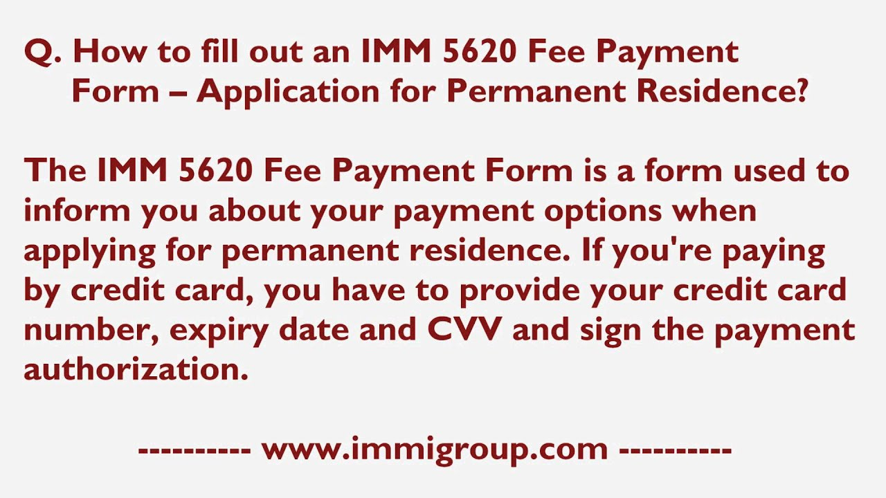 how to fill out an imm 5620 fee payment form application for how to fill out an imm 5620 fee payment form application for permanent residence