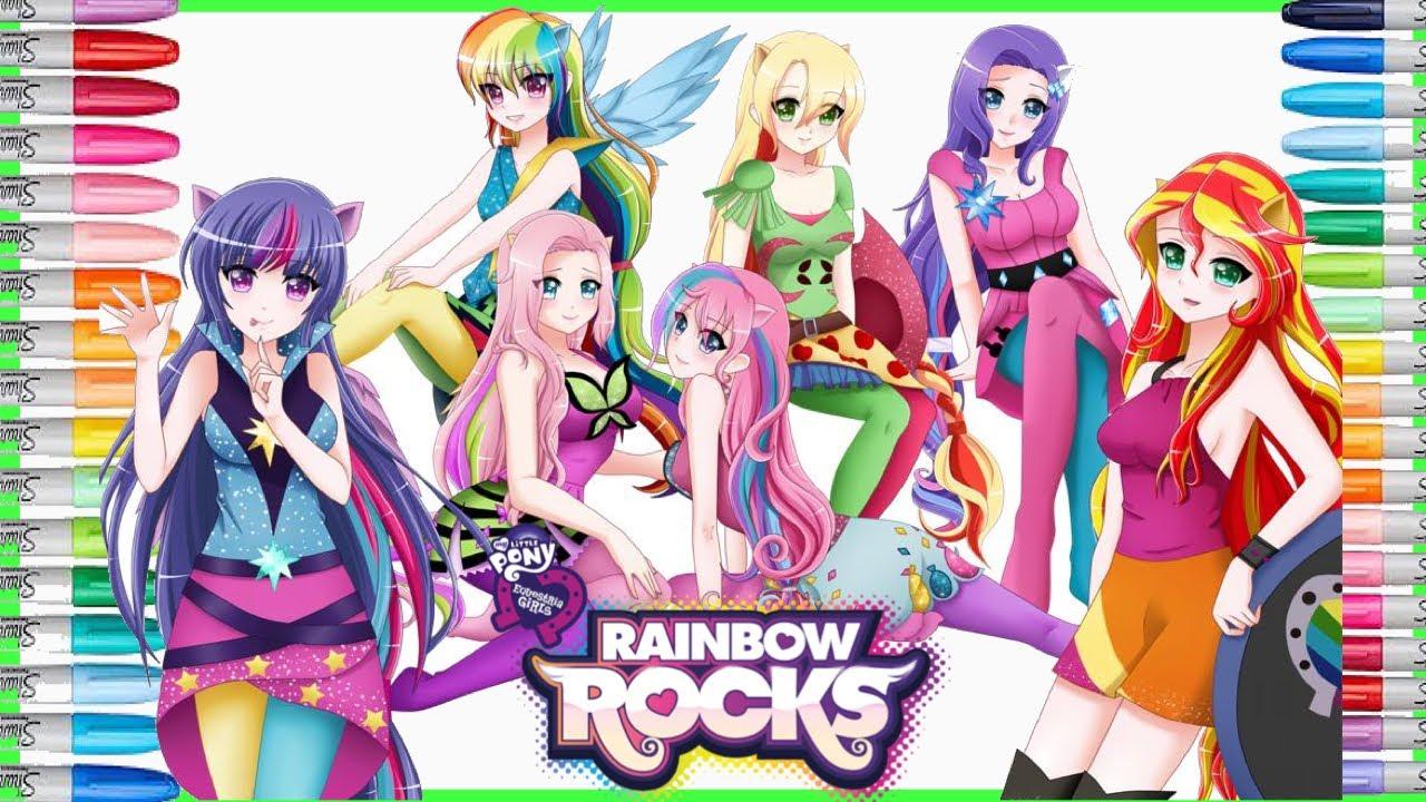 Equestria Girls Rainbow Rocks Giant Coloring Page Anime Mewarnai Gambar Kuda Poni My Little Pony Youtube