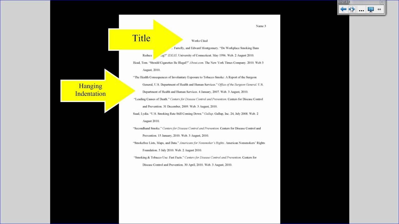 mla format works cited page