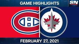 NHL Game Highlights | Canadiens vs. Jets - Feb. 27, 2021