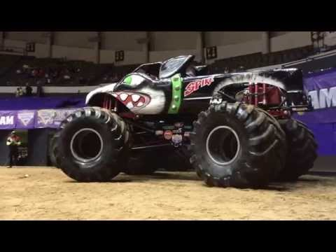 Monster truck Spike Unleashed leaving the pit party at monster jam