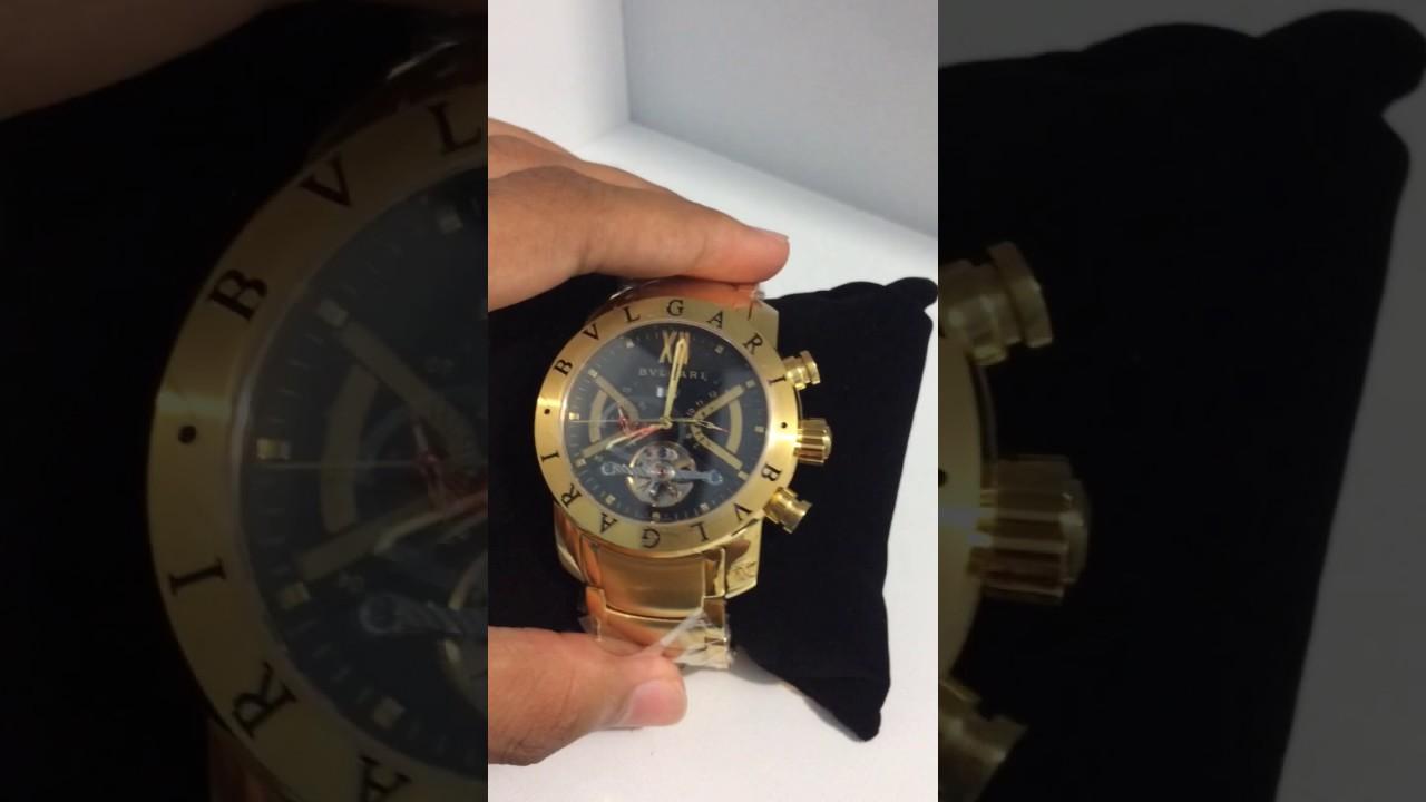 13297de88e5 Relógio Bvlgari Dourado com Fundo Preto Automático - YouTube