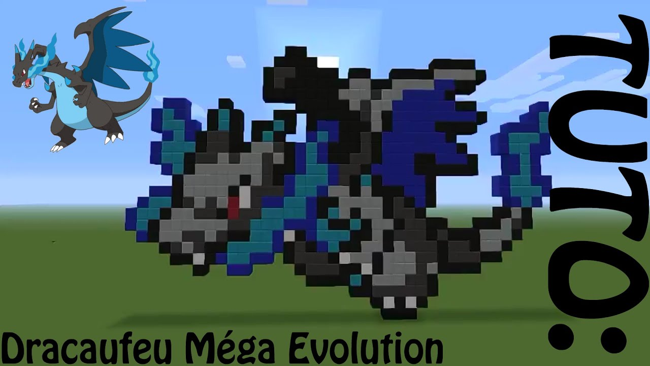 Minecraft pixel art dracaufeu m ga volution youtube - Mega evolution dracaufeu x ...