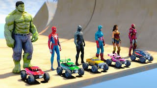 SpiderMan RC CARS Challenge With Hulk Black Panther Wonder Woman - GTA V MODS