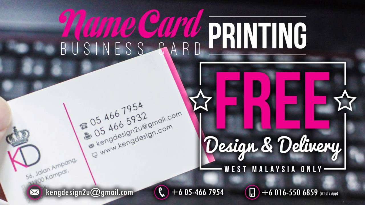 name card business card printing free design delivery west malaysia only - Name Card Printing