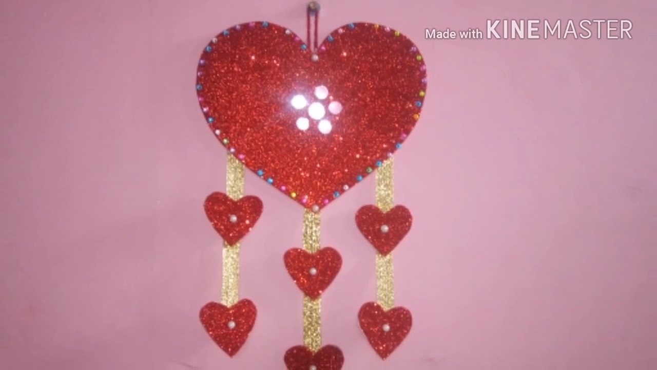 Wall hanging how to make beautiful wall hanging at home how to make heart wall hanging
