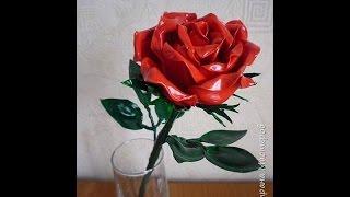 как сделать розу из пластиковых ложек.How to make a rose out of plastic spoons