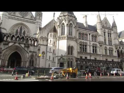 The George Pub and Royal  Courts of Justice on the Strand in London