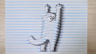 Как рисовать кота Саймона 3д рисунок на бумаге / How to draw Simon's cat 3D drawing on lined paper