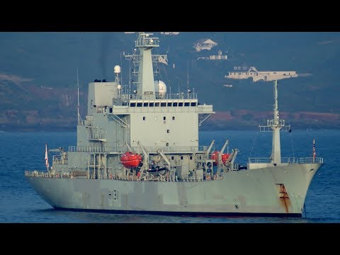 British Royal Navy Ocean Survey Vessel HMS Scott H131 Videoed From MV Armorique, Plymouth, England