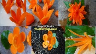 Repeat youtube video Simple Carrot Flowers For Beginners Lesson 6,แกะสลักดอกไม้ ง่ายมากๆ จากแครอท 5 แบบ