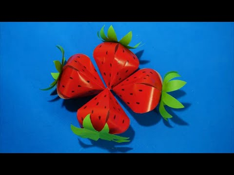 Diy Paper Strawberry craft ideas for kids | How to make a Paper Strawberry