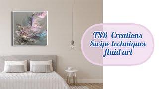 #153 FLUID ART/BEAUTIFUL GRAY BASE SWIPE TECHNIQUE. #acrylicpouring, #fluidartist