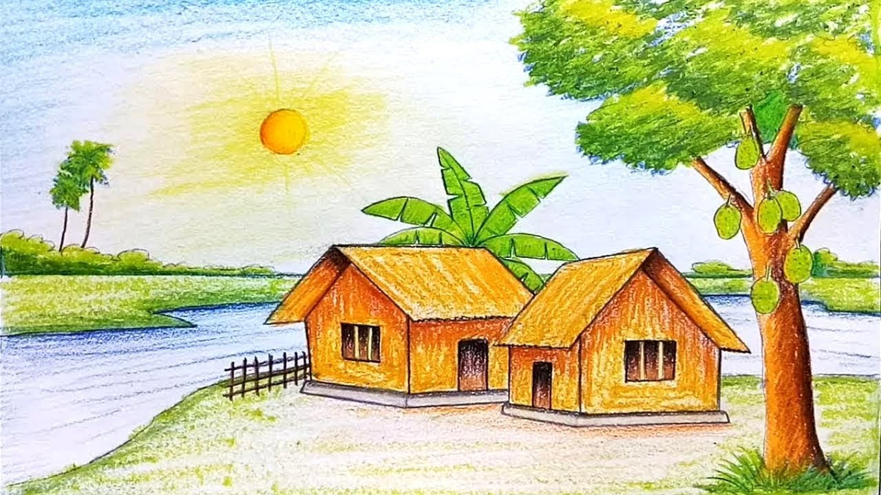 Beautiful Riverside Village Drawing With Morning Sunrise Easy Step By Step Grameen Scenery Drawing Youtube A village scenery drawing step by step / landscape. beautiful riverside village drawing with morning sunrise easy step by step grameen scenery drawing