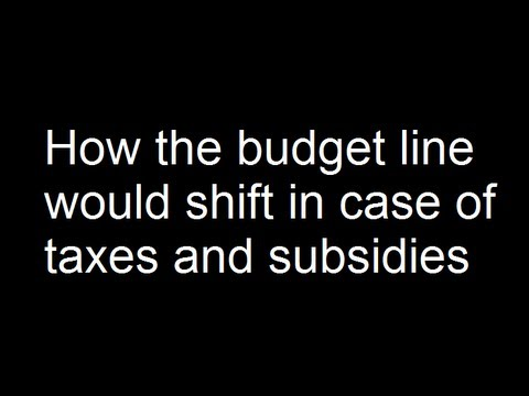 How the budget line would shift in case of taxes and subsidies