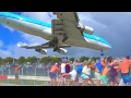 St. Maarten - famous KLM B747 low landing and amazing Jet Blast take-off - from differrent spots