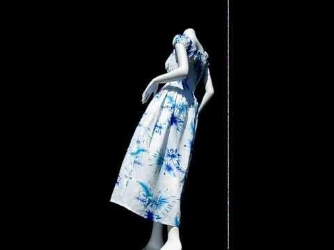 48813 Summer Smock Top Baby Doll Viscose Dress - Hawaiian Hibiscus Flower - White Blue