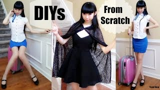 DIY Halloween Costumes(from Scratch)   DIY Witch Cape+Flight Stewardess Bodycon Skirt+Pattern Making