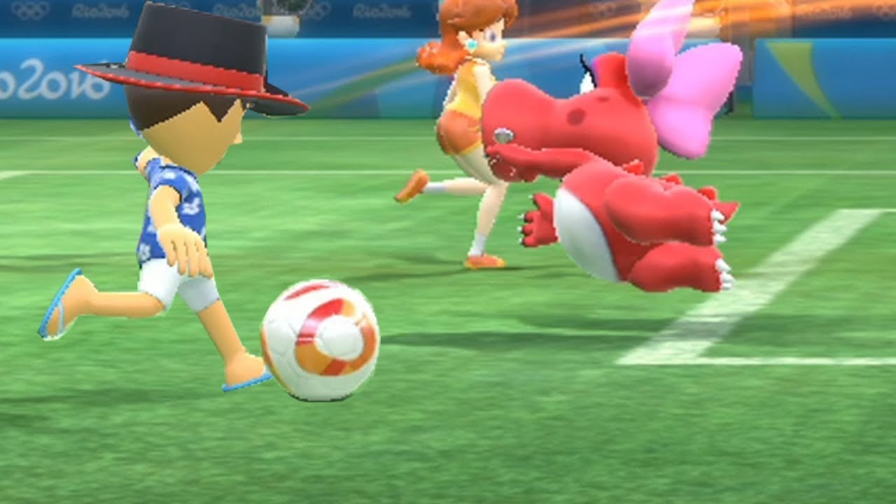 Mario and Sonic at The Rio 2016 Olympic Games Football Wii vs Peach , Knuckles