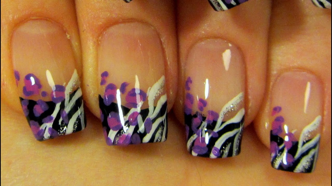 Black French with Purple Leopard Print & White and Silver Zebra ...