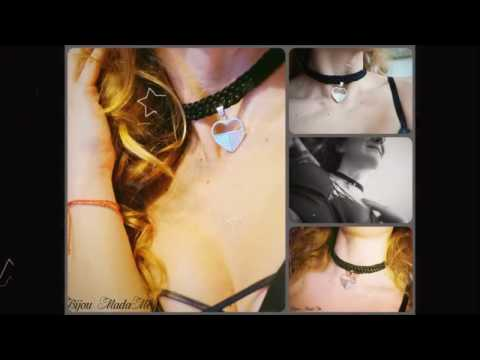 DIY jewelry tutorial. How to make easy and stylish knitted choker with a heart pendant.