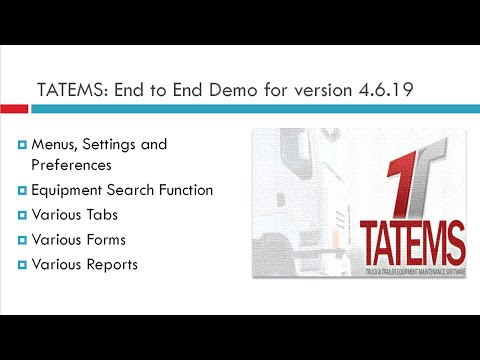 Fleet Maintenance Software TATEMS End To End Demo For 4.6.19