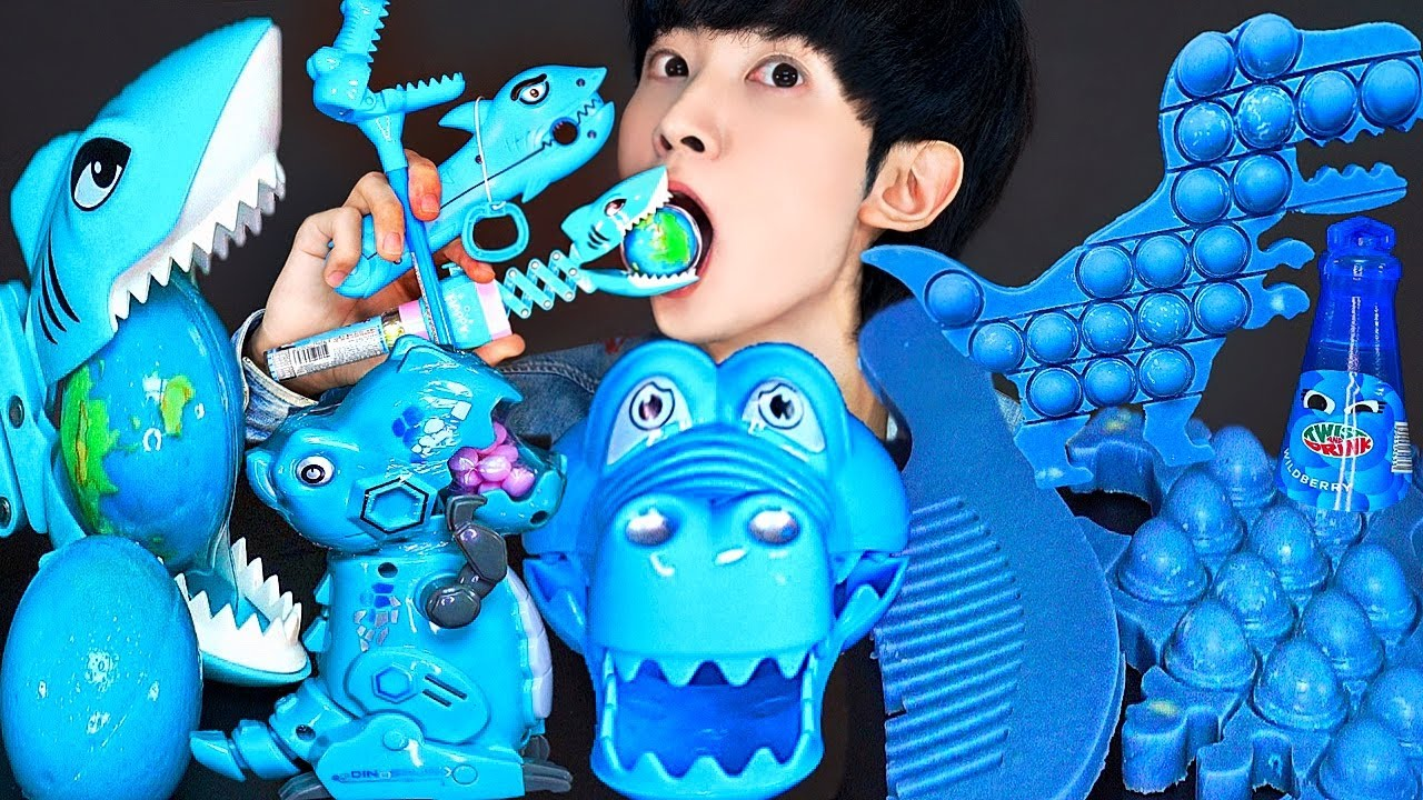 ASMR BLUE DINOSAUR PUSH POP RECIPE PARTY 직접 만든 블루 공룡 팝잇 젤리 먹방 DESSERTS CANDY MUKBANG EATING SOUNDS