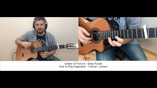 SOLDIER OF FORTUNE DEEP PURPLE HOW TO PLAY FINGERSTYLE TUTORIAL GUITAR LESSON
